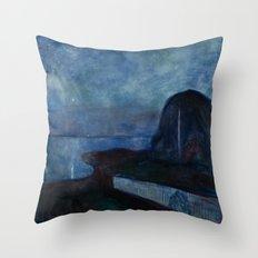 Starry Night by Edvard Munch Throw Pillow