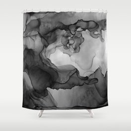 Black and White Ink Painting Abstract Flowing Shower Curtain
