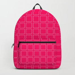 Hot Pink Neon Background with White Square Pattern Print Backpack