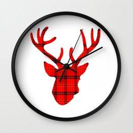 Plaid Deer Head: Red Wall Clock
