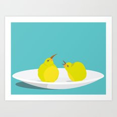 A Pear of Birds Art Print