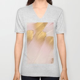 Gold Tipped Pink Feathers Unisex V-Neck