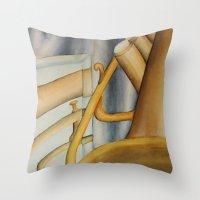 trumpet Throw Pillows featuring Trumpet by Erin Schamberger