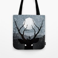 bambi Tote Bags featuring Bambi by Rowan Stocks-Moore