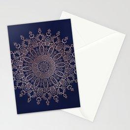 Navy Blue and Rose Pink Tulip Boho Mandala Stationery Cards