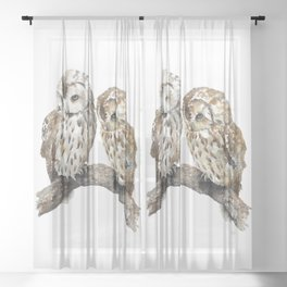 Two owls Sheer Curtain