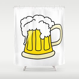 Funny full glass beer cartoon Shower Curtain