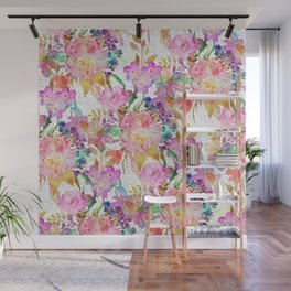 Elegant watercolor floral and dotted brush strokes Wall Mural