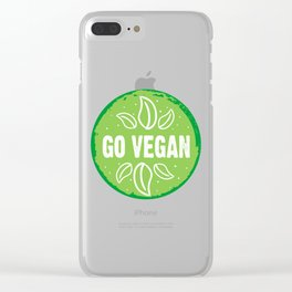 GO VEGAN, green circle (2) Clear iPhone Case