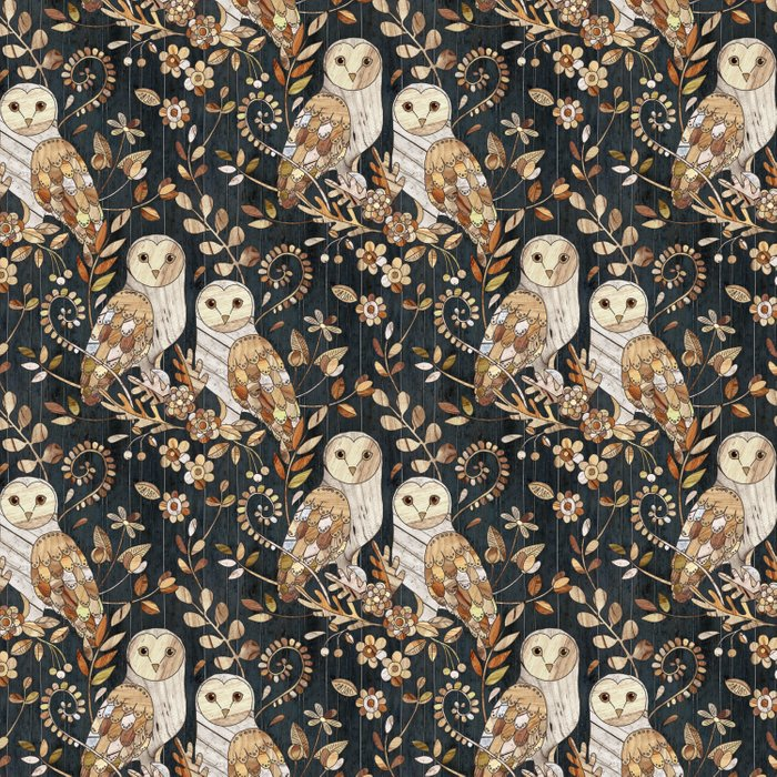 Wooden Wonderland Barn Owl Collage Duvet Cover
