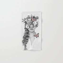 woman with flowers and butterflies 9a Hand & Bath Towel
