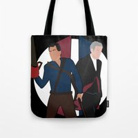 evil dead Tote Bags featuring Evil Dead meets Doctor Who by DocPastor