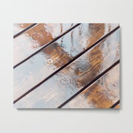 It's Raining! Beautiful Abstract Photography of Rain Falling on Redwood Deck Metal Print