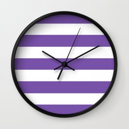 Royal purple - solid color - white stripes pattern Wall Clock