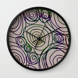 Abstract Artwork Pattern of Color Circles on a Black Background Style #01 Wall Clock
