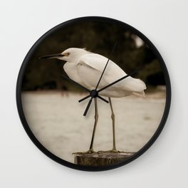Aged and Colorized Snowy Egret on Pillar Animal / Wildlife Photograph Wall Clock