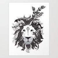 Lion tribal Art Print