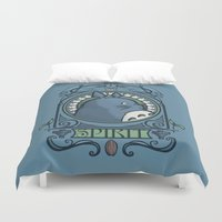 nouveau Duvet Covers featuring Forest Spirit Nouveau by Karen Hallion Illustrations