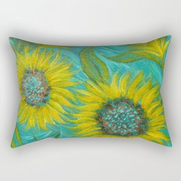 Sunflower Abstract on Turquoise I Rectangular Pillow