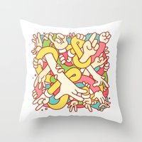 study Throw Pillows featuring Hand Study by Burnt Toast Creative
