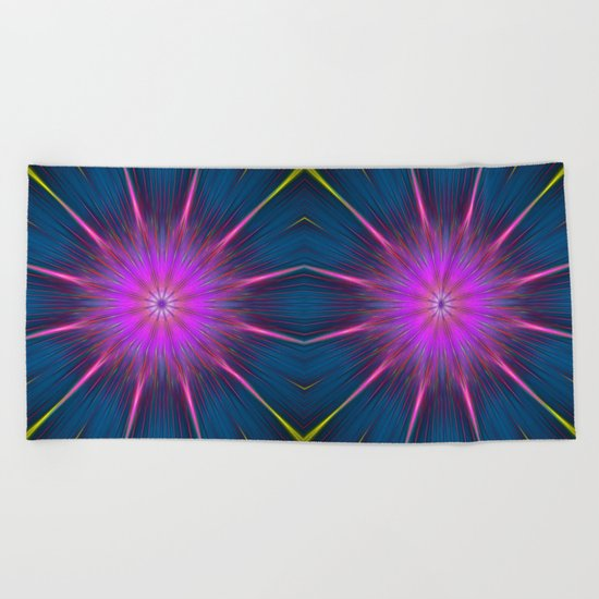 Artistic bright shining abstract star Beach Towel