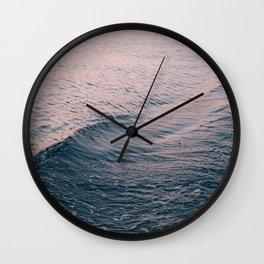 Pink Sunset Waves Wall Clock