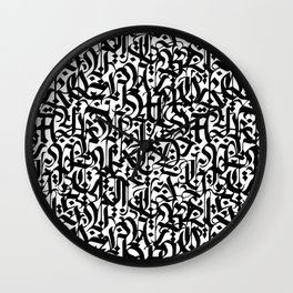 calligraphy pattern 6 - black and white typography design - abstract pattern Wall Clock