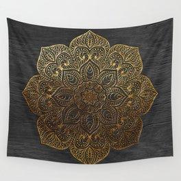Wood Mandala - Gold Wall Tapestry