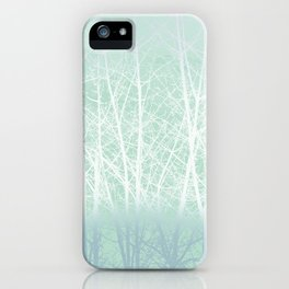 Frosted Winter Branches in Misty Green iPhone Case