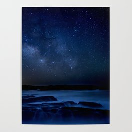 Dark Night California Coastal Waters Poster