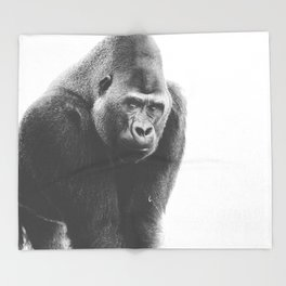 Silverback Gorilla (black + white) Throw Blanket