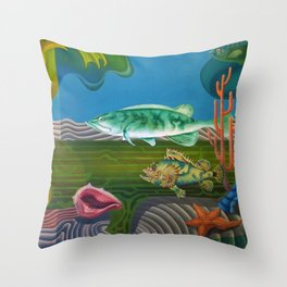Mariana Trench Sea Bottom landscape with fish, seashells, and starfish by Hilaire Hiler Throw Pillow