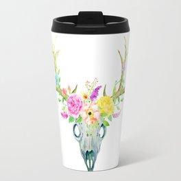 Watercolor Deer Skull Rose Bouquet Travel Mug