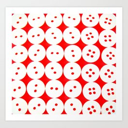 white buttons on red background Art Print