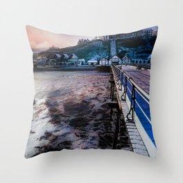 Snowey Saltburn Throw Pillow