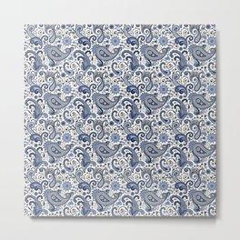 Blue and white paisley Metal Print