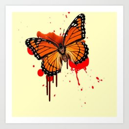 BLOODY BLEEDING ORANGE MONARCH BUTTERFLY Art Print