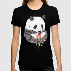 Panda Loves Ice Cream Black Womens Fitted Tee SMALL