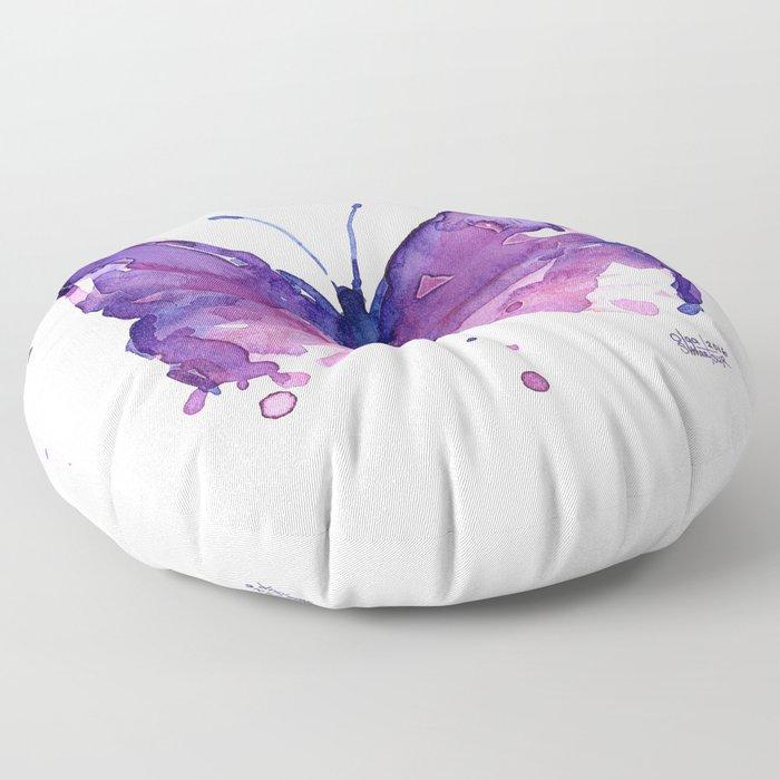 Butterfly Purple Watercolor Animal Floor Pillow