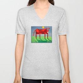Udderly Confused - Funny Cow Art Unisex V-Neck