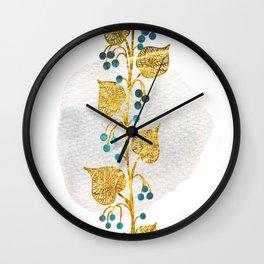 Teal Berries Wall Clock