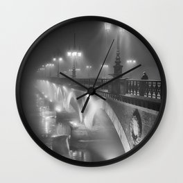 Paris, Bridge over the River Seine nighttime black and white photograph Wall Clock
