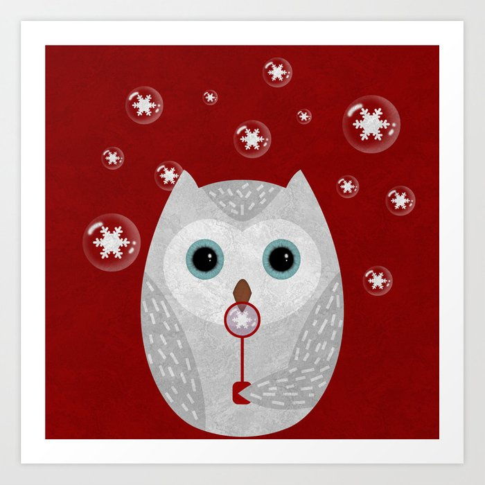 Christmas Owl Red Marble Art Print