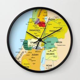 Map of Twelve Tribes of Israel from 1200 to 1050 According to Book of Joshua Wall Clock