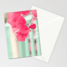 Pink Leafs on Blue Fence  Stationery Cards