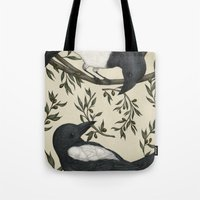 good omens Tote Bags featuring Good Omens by Jessica Roux