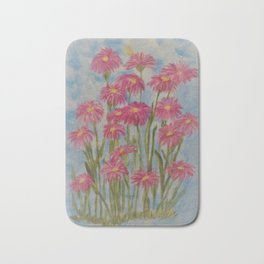 Asters Acrylic Floral Painting by Rosie Foshee for wall decor, and to share by stationary & stickers Bath Mat