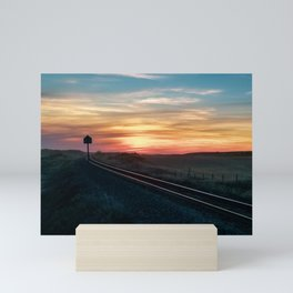 Sunset over Train Tracks Mini Art Print