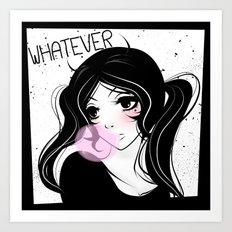 Apathetic mood anime girl Art Print