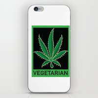 vegetarian iPhone & iPod Skins featuring Vegetarian Marijuana Leaf by BudProducts.us